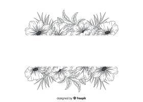 漂亮的手绘空白横幅鲜花_5313136