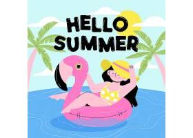 火烈鸟游泳圈上的女子手绘插图_7945831