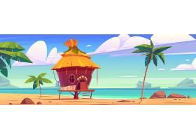 热带岛屿度假胜地的海滩小屋_12900272