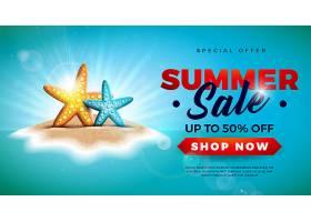 热带岛屿海星夏季促销横幅_4916333