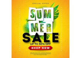 热带棕榈叶和排字字体的夏季促销横幅设计_4951462