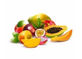 热带水果与火龙果芒果火龙果切成块成_4341211
