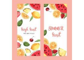 热带水果菜单设计西番莲夏日西瓜芒果草_4458328