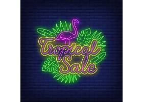 热带销售带有火烈鸟和树叶的霓虹灯文字_4553944