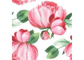 牡丹花水彩画图案无缝花卉植物水彩画风格复_4458364