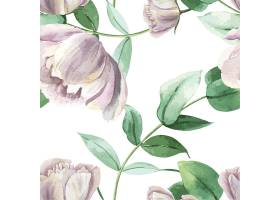 牡丹花水彩画图案无缝花卉植物水彩画风格复_4458366