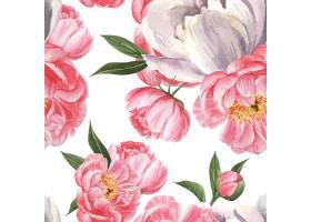 牡丹花水彩画图案无缝花卉植物水彩画风格复_4458367