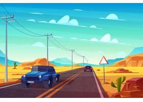 沙漠景观长长的公路和汽车沿着有标志和电_4758672