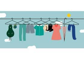 洗好的衣服挂在晾衣绳上_3200364