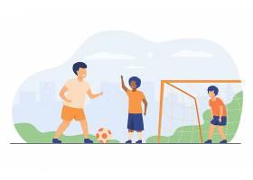 活泼快乐的小朋友在户外踢足球孤立的平面_10172322