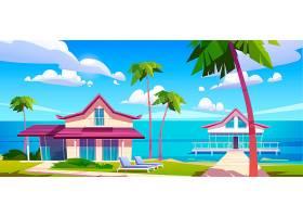 海岛度假海滩上的现代平房热带夏季景观_12120249