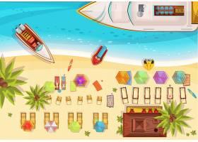 海滩度假构图俯视图包括躺椅上的日光浴者_4359265