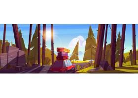 暑假自驾游节假日背着车顶的袋子在森林里_12345418