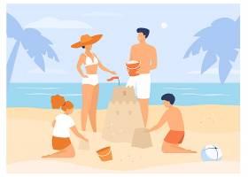 暑期家庭活动孩子们爸爸妈妈在海滩上堆_10173607