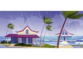 有平房和棕榈树的热带海滩上有雨和龙卷风的_12760737