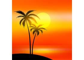 有日落和棕榈树的海滩景色_4607183