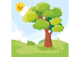有树有日的山水风景画_5714230