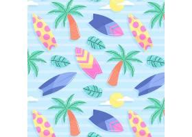 有棕榈树和冲浪板的夏季图案_9243385