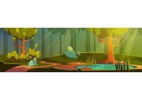 有池塘或沼泽和步道的卡通森林插图有树木_13239018