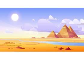 有河流和金字塔的埃及沙漠_12900184