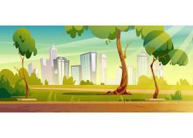 有绿树和草坪的城市公园_13009405