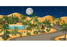 有路有棕榈树的沙漠和夜景中的猫科自然景_11830084
