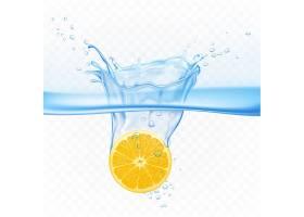 柠檬在水中飞溅爆炸隔离在透明上柑橘果实_4997231