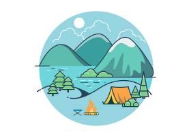 树木和山脉之间湖边的线性平顶帐篷夏令营_13446083