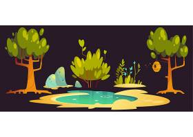 树枝上挂着树木池塘石头和蜂巢的森林景_12620537