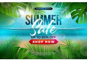 棕榈叶蓝海景观夏季促销横幅模板设计_4966622