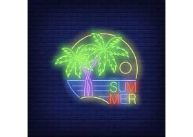 棕榈树和大海的夏日霓虹灯文字_4553922