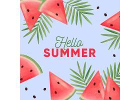 水彩你好夏天有西瓜和树叶_7942606