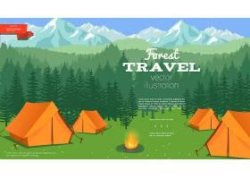 森林和山脉上带帐篷和营火的平板式夏令营模_12858761