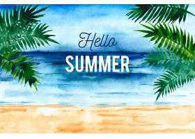 水彩画你好夏天有海滩和棕榈树_7942607