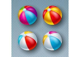 插图与彩色沙滩球收藏隔离在透明上_5041107