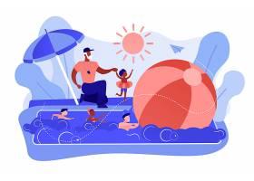 教练在夏令营里教孩子们在游泳池里游泳个_11664234