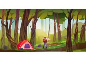 旅行者在森林中扎营游客背着背包和地图站_13009461