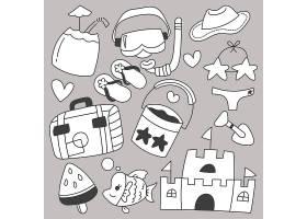 暑假旅游套餐附卡通物品手绘素描_13330347
