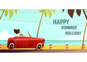暑假热带岛屿度假复古海报少女驾驶复古红色_4188520