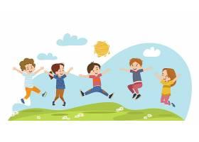 快乐的孩子们在夏日的草地上跳跃_8609202