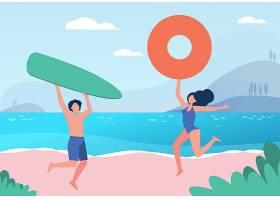快乐的情侣享受夏日海滩活动带冲浪板和救_11235495
