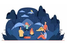 快乐的朋友们坐在夏夜的篝火旁平平淡淡地_12291061