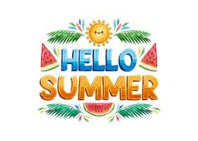 您好夏日刻字和西瓜片_7557749