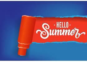 您好红色和蓝色的夏季创意横幅手写文本_2540740