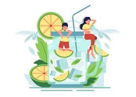 情侣们喜欢在透明的罐子里啜饮橙汁和薄荷叶_13330867
