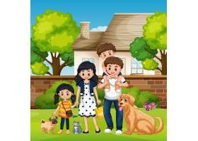 房子前的一家人_4543668