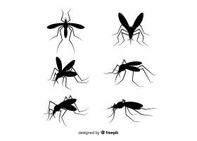 扁平的蚊子剪影集合_3138795
