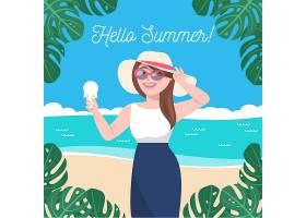 扁平设计你好夏日女孩戴着沙滩帽_7711024