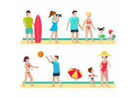 扁平风格的现代沙滩人家庭生活方式情景设定_11438870