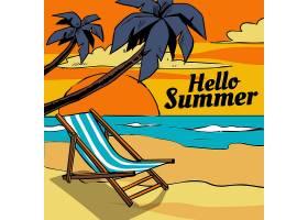 手绘你好夏天海滩和棕榈树_8374339